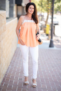 Apricot + Gray Stripe Top