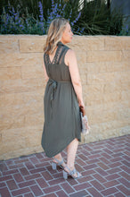Collared Button Down Lace Detail Dress - Olive - Cactus Lounge Boutique