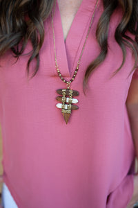 Wood and Gold Necklace - Cactus Lounge Boutique