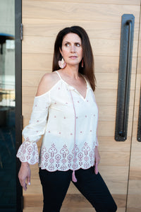Lauren Embroidered Cream + Mauve Cold Shoulder Ruffle Sleeve Top
