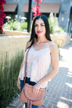 Pleated Front Cami with Ruffle Hem - Blush
