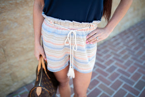 Tassel Waist Paper Bag Stripe Shorts
