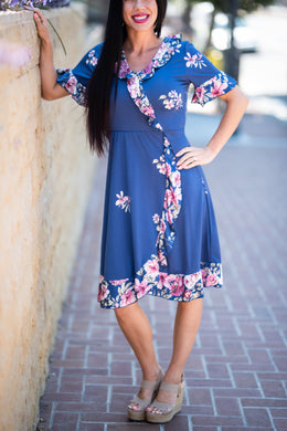 Garden Blue and Pink Floral Dress