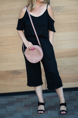 Black Cold Shoulder Jumpsuit