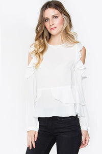 White Ruffle Blouse