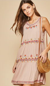 Taupe Embroidered Dress
