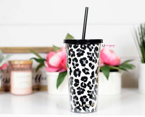 Snow Leopard Glitter Cup with Straw - Cactus Lounge Boutique