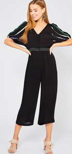 Striped Embroidered Sleeve Jumpsuit - Black