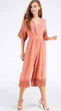 Crochet Sleeve Jumpsuit - Salmon