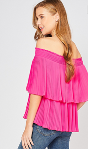 Pleated Off Shoulder Top - Magenta