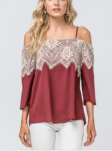 Polka Dot Off Shoulder Lace Top - Burgundy - Cactus Lounge Boutique
