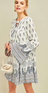 Paisley Print Dress - Cream and Blue - Cactus Lounge Boutique