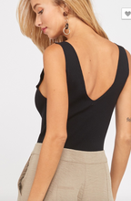 Sleeveless V Neck Fitted Rib Knit Bodysuit