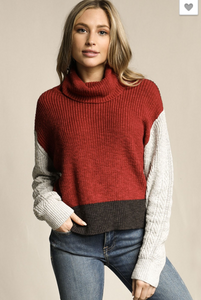 Meet Me By the Fire Color Block Cowl Sweater - Cactus Lounge Boutique
