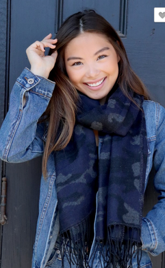 Navy and Black Camo Scarf