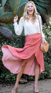 Coral Polka Dot Skirt