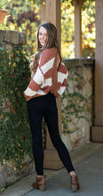 Rusty Brown and Cream Popcorn Back Twist Sweater with Open Back - Cactus Lounge Boutique