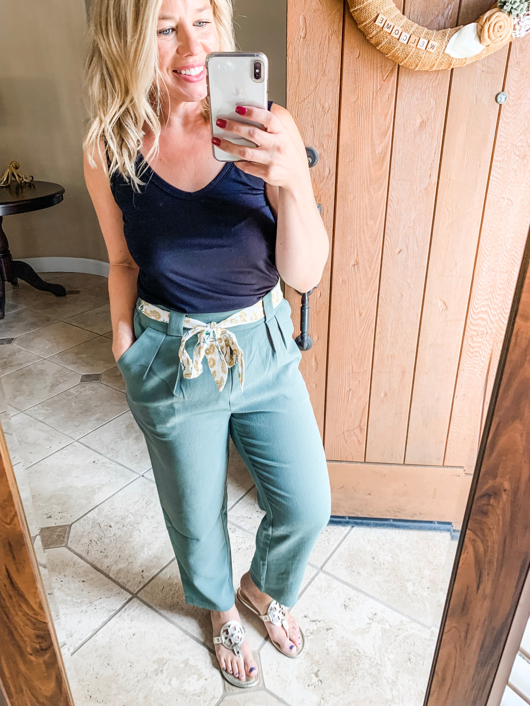 Sage Pants with Mustard Floral Belt - Cactus Lounge Boutique