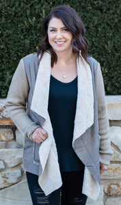 Sherpa Lined Faux Suede Jacket - Taupe - Cactus Lounge Boutique