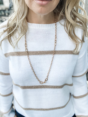 Carrie Antique Gold Chain Necklace
