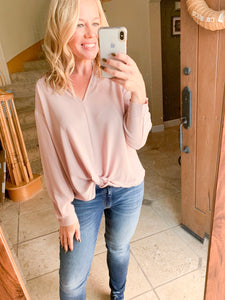 Relaxed Knot Front Blouse Top - Sand - Cactus Lounge Boutique