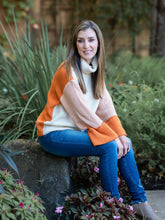 First Frost Pumpkin Color Block Cowl Neck Sweater