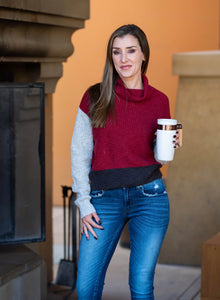 Meet Me By the Fire Color Block Cowl Sweater