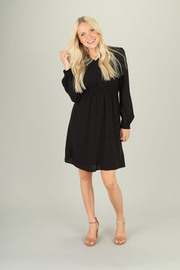 Gabrielle Black Long Sleeve Dress