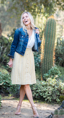 Yellow Gingham Skirt with Pockets