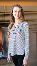 Black and White Stripe Top with Multi Color Embroidery Details - Cactus Lounge Boutique