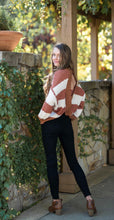 Rusty Brown and Cream Popcorn Back Twist Sweater with Open Back