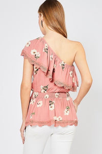 Floral Print One Shoulder Top - Cactus Lounge Boutique