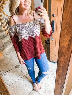 Polka Dot Off Shoulder Lace Top - Burgundy