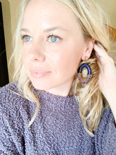 Raffia Wrapped Beaded Hoop Earrings - Cactus Lounge Boutique