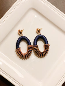 Raffia Wrapped Beaded Hoop Earrings
