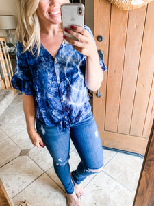 Size Medium Navy Tie Dye Ruffle Sleeves Top - Cactus Lounge Boutique