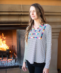 Black and White Stripe Top with Multi Color Embroidery Details