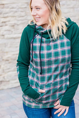 Hunter Green Plaid Double Hoodie