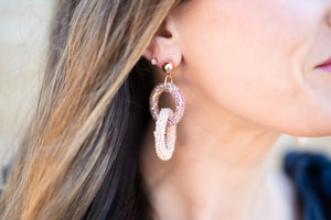 Beaded Double Hoop Earring - Pink