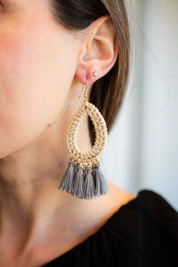 Wicker + Gray Tassel Earring