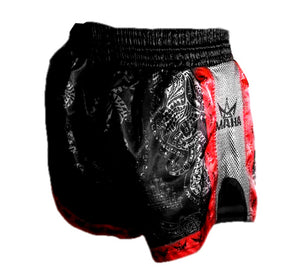 Maha Sak Yant Muay Thai Shorts - Black/Red
