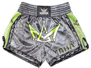 Maha Sak Yant Muay Thai Shorts - Slate/Lime Green