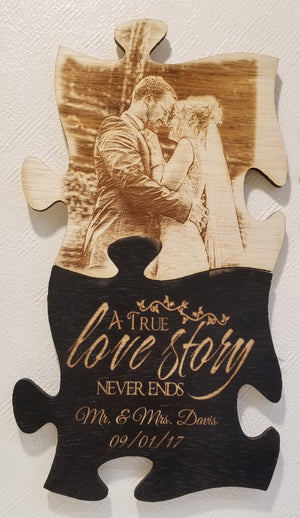 Wood Puzzle wall art personalized and engraved with your photo