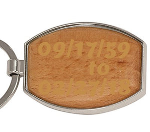 Silver/Wood Laserable Oval Keychain