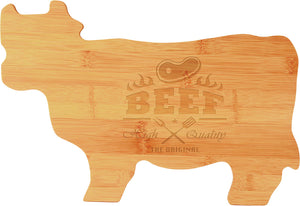 Bamboo Cow Shaped Cutting Board
