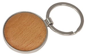 Silver/Wood Laserable Round Keychain