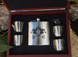 6 oz Matt Black or Stainless Steel Flask Set in Wood Presentation Box