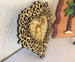Photo on wood cut out with magnet backing