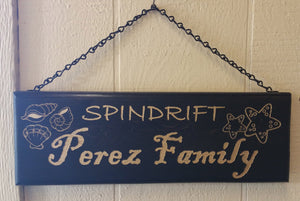 Personalized Pine wood sign with chain