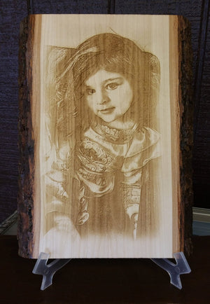 Photo engraved on Basswood Plank